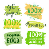 Calligraphy Go Vegan. Vector hand drawn sign. Elements for design. Motivational quote. royalty free illustration