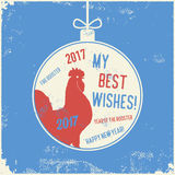 Calligraphy greeting card red fire rooster. Christmas and New Year lettering calligraphy greeting card with 2017 year of the red fire rooster. Vector Stock Photography