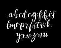 Calligraphy hand-written fonts. Handwritten brush style modern calligraphy cursive typeface. Calligraphy hand-written fonts. Set of vector letters written with a Stock Images