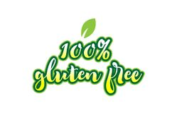 100% gluten free word font text typographic logo design with gre Stock Image