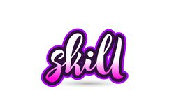 Skill calligraphic pink font text logo icon typography design Royalty Free Stock Photos