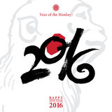 Calligraphy 2016 Happy New Year sign card with Monkey Royalty Free Stock Photos