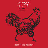 Calligraphy 2017 Happy New Year sign card Rooster. Calligraphy 2017 Happy New Year sign card with Rooster Stock Images