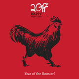 Calligraphy 2017 Happy New Year sign card Rooster. Royalty Free Stock Photos