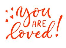 Calligraphy inscription in coral color. You are loved. For lovers. stock illustration