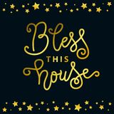 Calligraphy lettering of Bless this house in golden with border of golden stars on dark background. For decoration, postcard, poster, banner, design element vector illustration