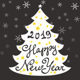 Calligraphy lettering with Christmas tree. Happy New Year 2019. Lettering, vector illustration vector illustration