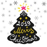 Calligraphy lettering with Christmas tree. Happy New Year 2019. Lettering, vector illustration stock illustration