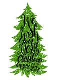 Calligraphy lettering of Christmas tree vector illustration. Royalty Free Stock Photos
