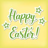Illustration with calligraphy lettering of Happy Easter in green Stock Photography