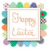 Calligraphy Lettering Happy Easter Inscription. Easter Card with Colorful Eggs in Wreath Form. For Greeting or Invitation Postcard royalty free illustration