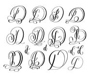 Calligraphy lettering script font C set, hand written signature. Calligraphy lettering script font D set, hand written signature letter design, vector Stock Image
