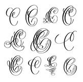 Calligraphy lettering script font C set, hand written. Signature letter design, vector illustration Stock Image