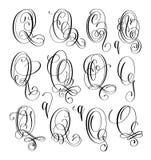 Calligraphy lettering script font Q set, hand written. Signature letter design, vector illustration Royalty Free Stock Photography