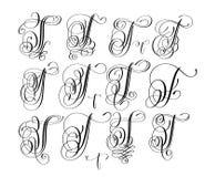 Calligraphy lettering script font T set, hand written. Signature letter design, vector illustration Stock Images