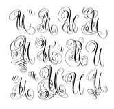 Calligraphy lettering script font U set, hand written. Signature letter design, vector illustration Stock Image