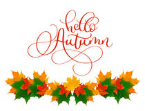 Calligraphy lettering text hello Autumn. beautiful frame of yellow leaves Royalty Free Stock Photography