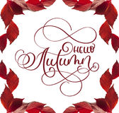 Calligraphy lettering text hello Autumn. frame with red leaves on a white background Royalty Free Stock Photography