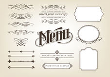 Calligraphy Menu Set. Hand drawn editable vector illustrations of scrolls and menu items Royalty Free Stock Photo
