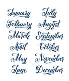 Calligraphy Months of the Year Set. Make your own Calendar. Calligraphy Months of the Year Set. Make your own Calendar Royalty Free Stock Photo
