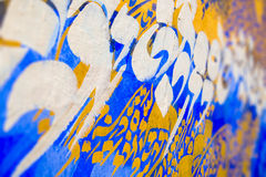 Calligraphy. Mural paint of arabic calligraphy in the medina of Asilah on may 23, 2015 royalty free stock image