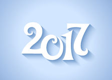 Calligraphy new year date numbers 2017. Vector blue and white calligraphy new year date numbers 2017 Stock Illustration