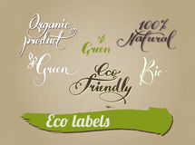 Calligraphy for packaging design eco products Royalty Free Stock Images