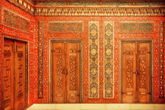 Calligraphy and paintings on the doors of 17th century Aleppo room Royalty Free Stock Images