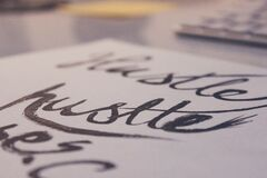 Calligraphy on paper  Stock Photos