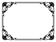 Calligraphy penmanship curly baroque frame black. Isolated Stock Photo