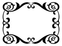 Calligraphy penmanship curly baroque frame black. Isolated Royalty Free Stock Images