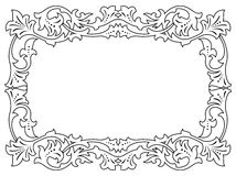 Calligraphy penmanship curly baroque frame black. Isolated Royalty Free Stock Photo