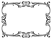Calligraphy penmanship curly baroque frame black Stock Images