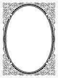 Calligraphy penmanship oval baroque frame black Stock Photography
