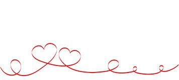 Calligraphy Red Heart Ribbon on White background. Red curved band with two hearts. royalty free illustration