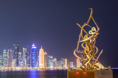 Calligraphy sculpture on the Corniche of Doha Stock Photos