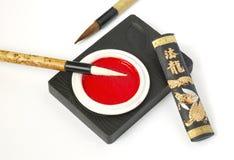 Calligraphy Set. Closeup shot of asian calligraphy set Stock Photography