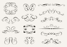 Calligraphy Set. Set of calligraphic symbols. Vector illustration stock illustration