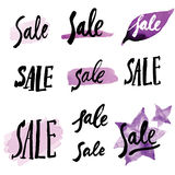 Calligraphy signs SALE. Vector set of handmade calligraphy signs SALE - drawn by ink and brush Royalty Free Stock Images