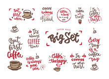 Calligraphy style coffe phrase set Royalty Free Stock Photo