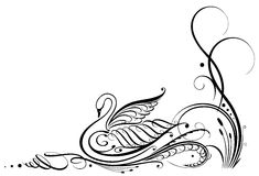 Calligraphy, swan Stock Photo