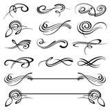 Calligraphy swirls ornate flourish vector decoration set. Calligraphy flourish tattoo, illustration of decoration flourish classical elements royalty free illustration