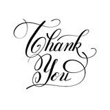 Calligraphy thank you handwritten lettering inscription Stock Images