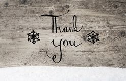 Calligraphy Thank You, Rustic Wooden Background, Snow Stock Image