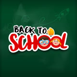 Calligraphy title back to school sticker style with shadow over Stock Photo