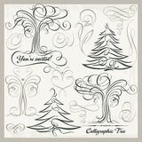 Vector Calligraphy Tree Butterfly Design Elements Clipart Set. Set of 14 calligraphic vector design elements, trees, butterflies, florals, ornaments, scrolls Royalty Free Stock Photography