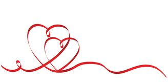 Calligraphy Two Red Heart Ribbon on White, Vector Stock Illustra. Tion, eps 10 Stock Photo