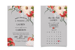 Calligraphy vector. Beautiful wedding invitation with calendar and matched date Stock Photography
