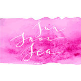 Calligraphy watercolor pink sun snow Stock Photography