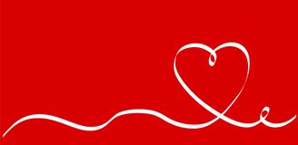 Calligraphy White Heart Ribbon on Red, Vector Stock Illustration. Eps 10 Royalty Free Stock Photos